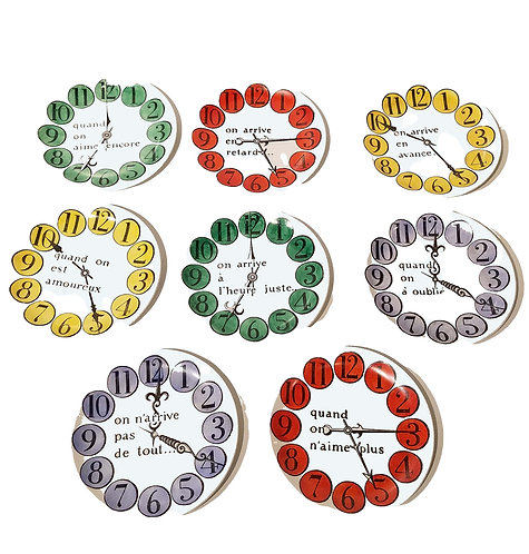 Piero Fornasetti Group of Eight Quand on Arrive Clock Coasters, When One Arrives