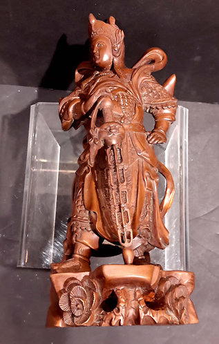 Chinese Boxwood Carving Guardian Figure C.1900