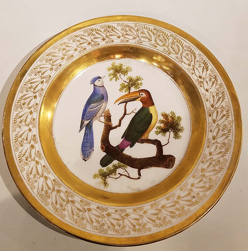 Old Paris Porcelain Charger Tucan and Blue jay