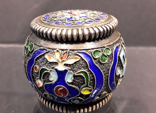 Antique Chinese Silver Enamel Opium Box