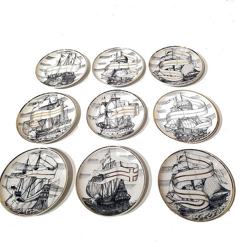 8 Fornasetti Motif Plus 1 Fornasetti Ship Coasters, Deluxe Quality, Japan