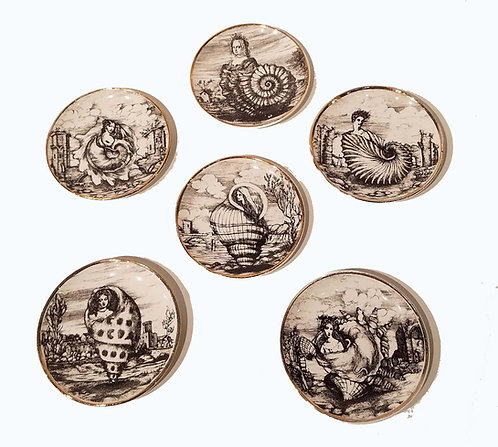 Set of Six 'Conchyliorum' Coasters, 1950s Piero Fornasetti