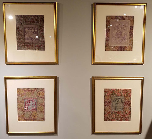 Group of  Framed 17C. Shawl Fragments Indian Textiles