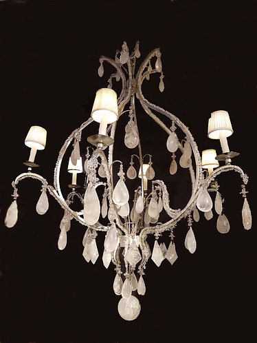 "Magnificent 60"" Rock Crystal Quartz 6 Arm Chandelier"