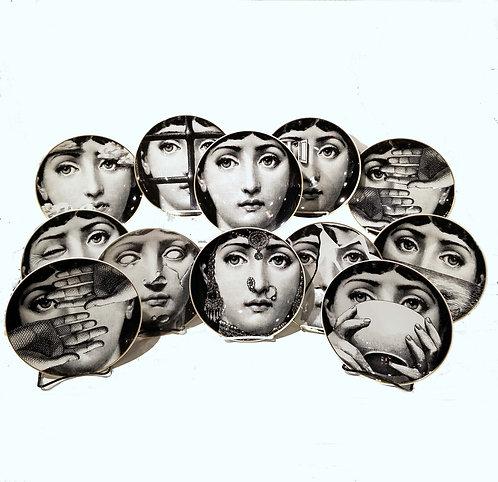 "Set of 12 Piero Fornasetti for Rosenthal ""JULIA"" Plates"