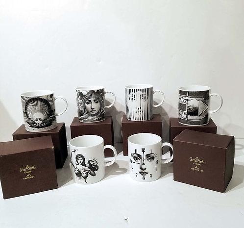 Set of 6 Piero Fornasetti for Rosenthal Porcelain Coffee Mugs in Julia Pattern