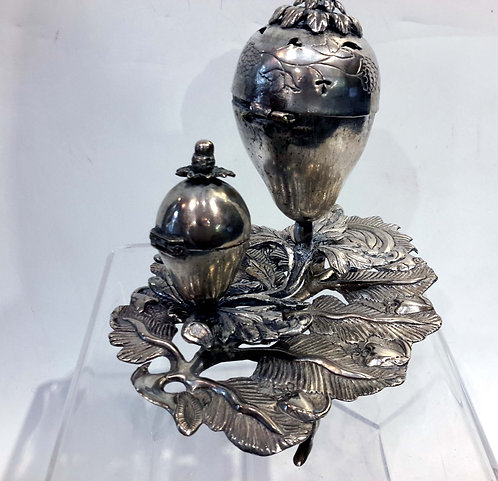 Judaic Silver Double Spice Container, Eastern Europe18/19C.