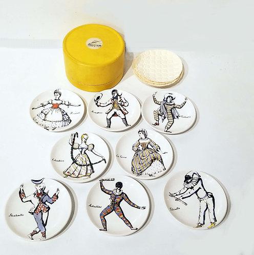 A Set of Eight 'MASCHERE ITALIANE' Coasters, 1950S PIERO FORNASETTI (1913-1988)