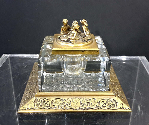 RARE CALDWELL BRONZE AND CRYSTAL INKWELL