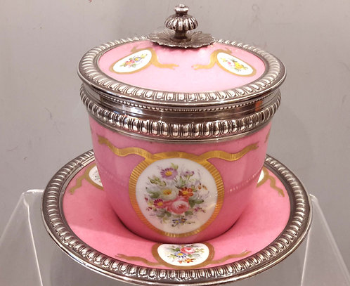 19th Century Sevres Porcelain Lidded Cup With Sterling Silver Mount.