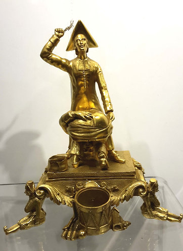 VERY UNUSUAL FRENCH FIGURAL INKWELL DEPICTING PRIEST PUNISHING PUPIL