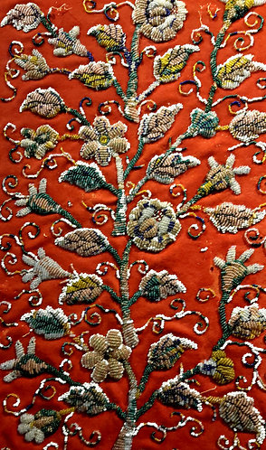 Rare 19C. Beadwork Textile Panel