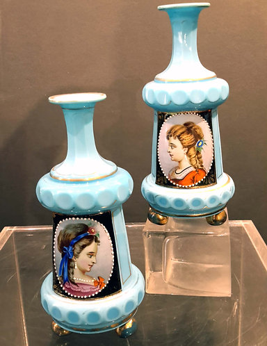 PAIR OF 19TH CENTURY FRENCH OPALINE BOTTLES