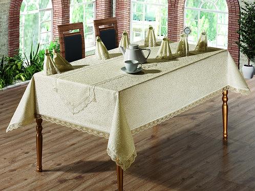 Tezko Tekstil Fransız Güpürlü Kdk Kumaş Yemek Masası Takımı 18 Cappicino