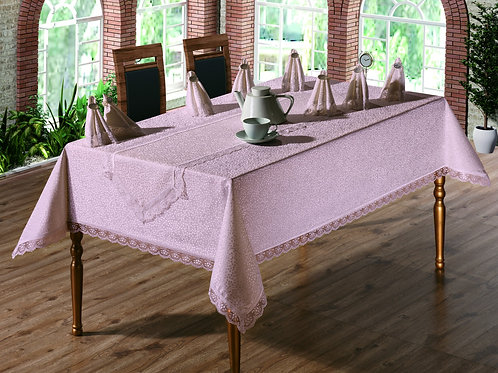 Tezko Tekstil Fransız Güpürlü Kdk Kumaş Yemek Masası Masa Örtüsü Pudra