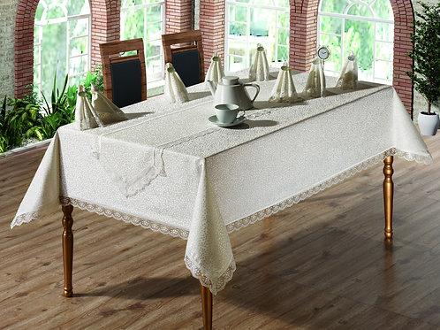 Tezko Tekstil Fransız Güpürlü Kdk Kumaş Yemek Masası Takımı 18 remK