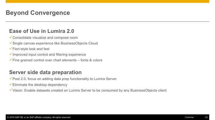 Lumira 2.0 core functionality