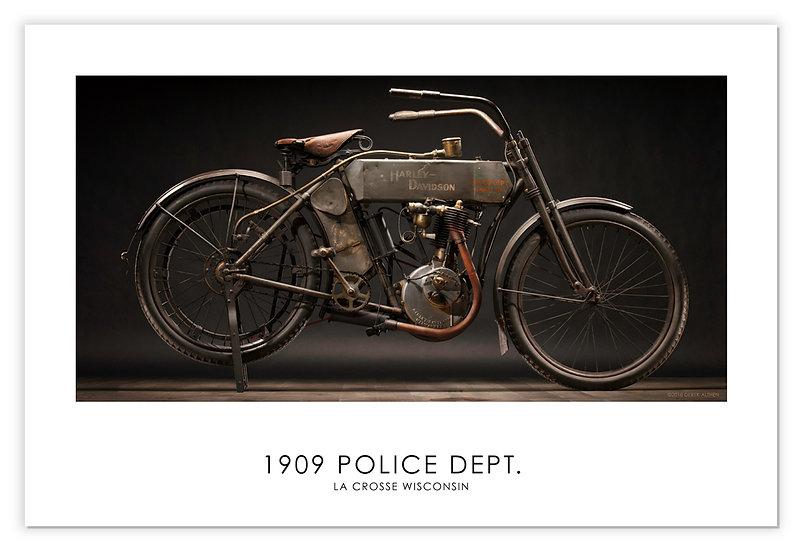 """1909 Harley Davidson Police Dept. 30""""x 20"""" Print."""