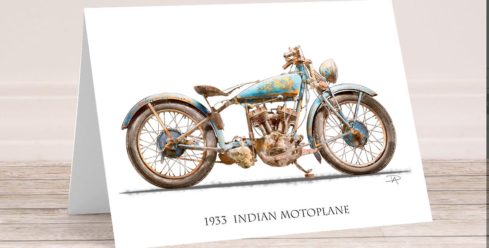 1933 Indian Motoplane  5x7 Card with envelope.
