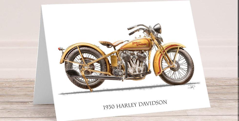 1930 Harley Davidson 5x7 Card with envelope.