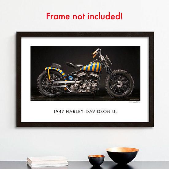 """1947 HARLEY-DAVIDSON UL  """"Moonshiners Racing"""" 30""""x 20"""" Print."""
