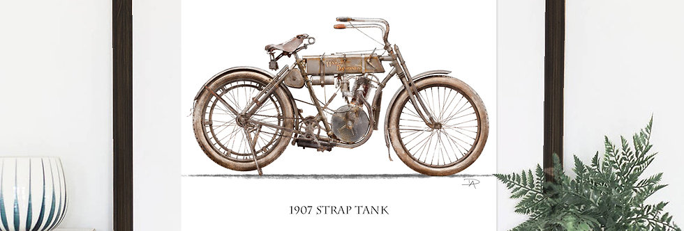 "1907 Harley Davidson  8.5""x 11"" Archival water color print."