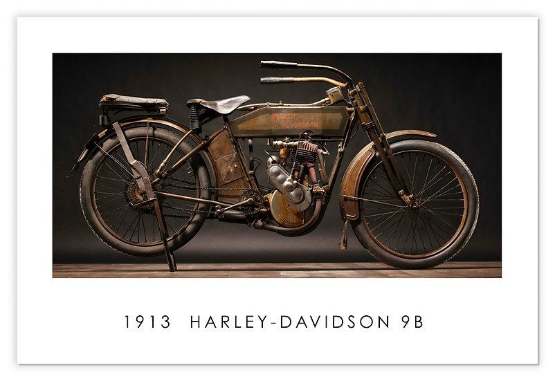 "1913 HARLEY DAVIDSON 9B 30""x 20"" Archival Poster"