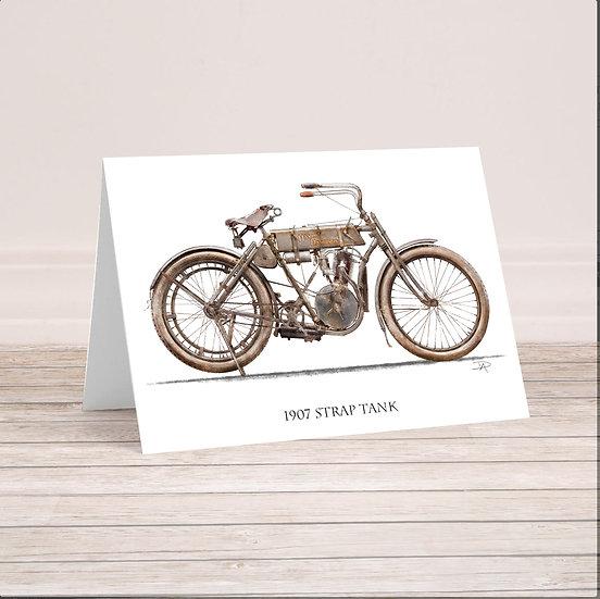 "1907 Harley Davidson ""Strap Tank"" 5x7 Card with envelope."