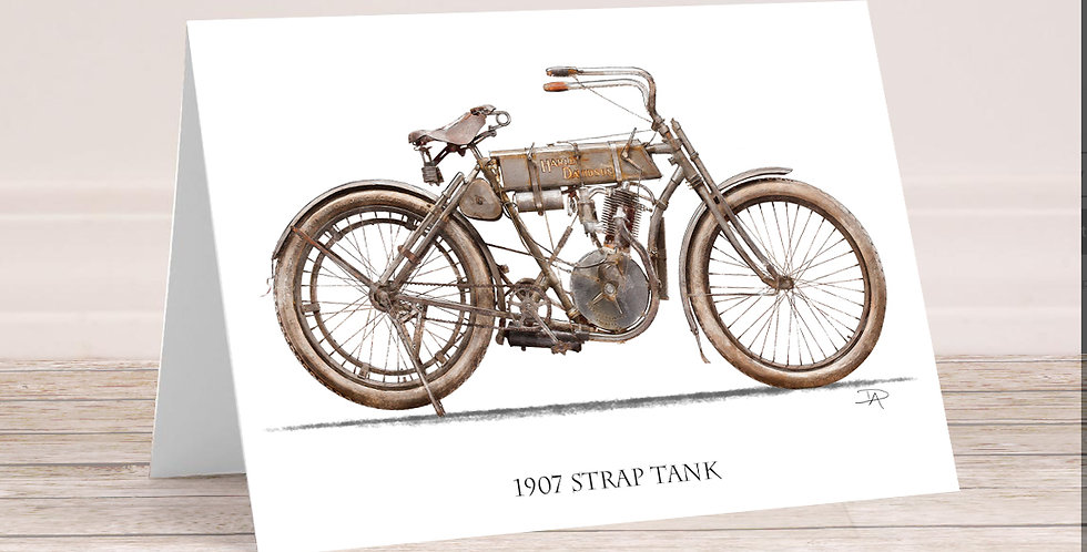 "1907 Harley Davidson ""Strap Tank"" 5x7 Card with envelope."