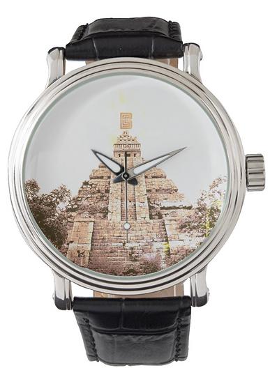 Men's Vintage Black Leather Strap Watch