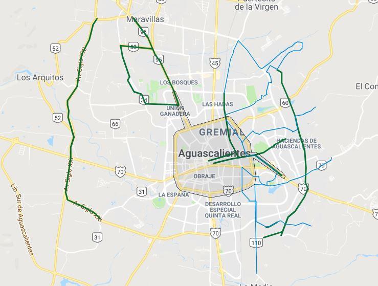 mapa de ciclovias de aguascalientes