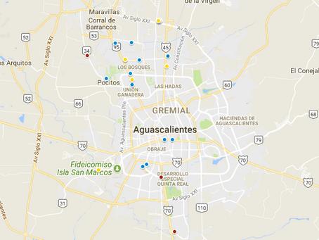 El mapa de edificios de Aguascalientes