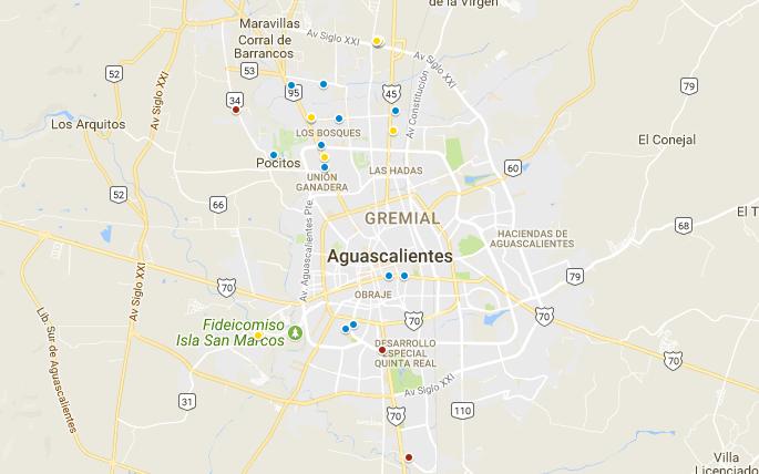 Mapa de edificios en Aguascalientes