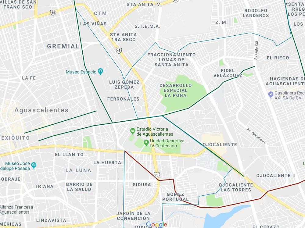 mapa ciclista de Aguascalientes