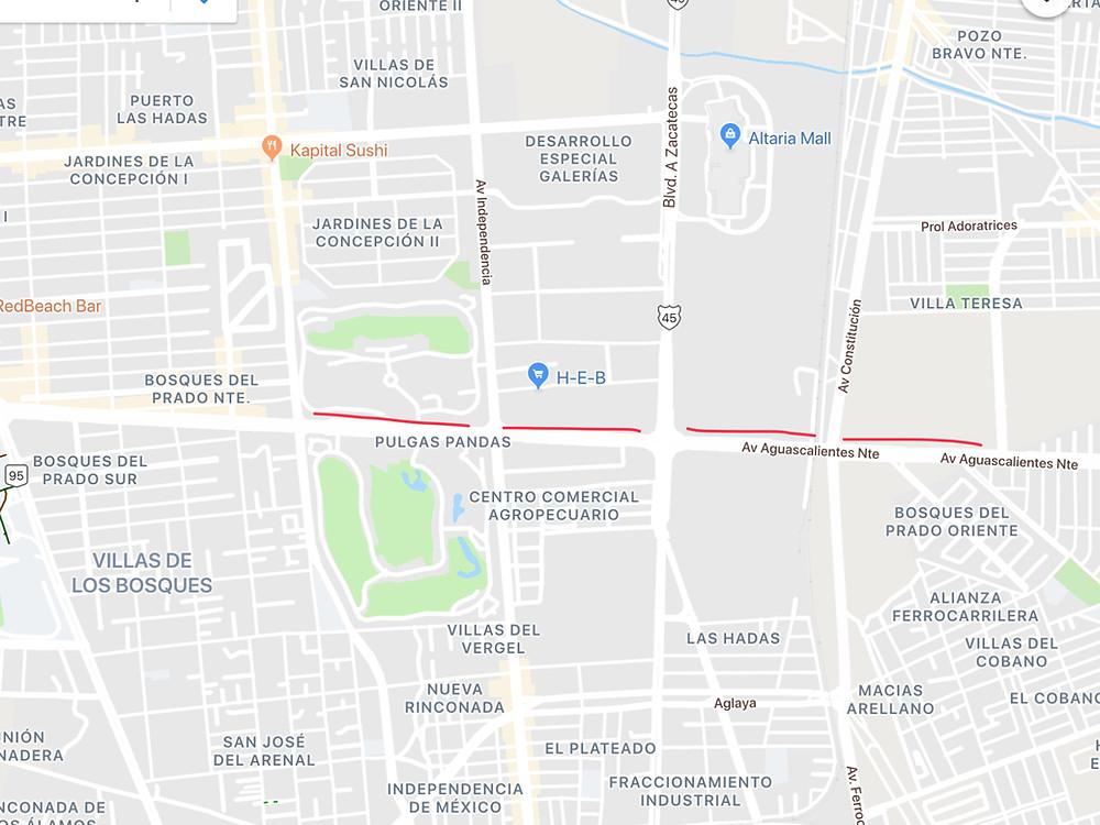 Bordes Urbanos en segundo anillo en Aguascalientes