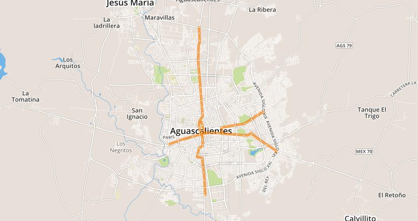 Mapa de transporte público de la ciudad de Aguascalientes