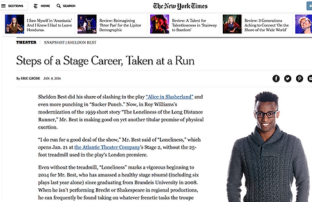 Sheldon Best New York Times NYTimes Steps of a Stage Career Taken at a Run Eric Grode Atlantic Theater Loneliness of the Long Distance Runner Alice in Slasherland Sucker Punch Romeo and Juliet