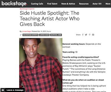 Sheldon Best, Actor, Backstage, backstage.com, teaching artist