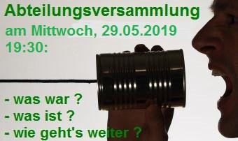Abteilungsversammlung am 29.05.2019 um 19:30 Uhr in der Turnhalle