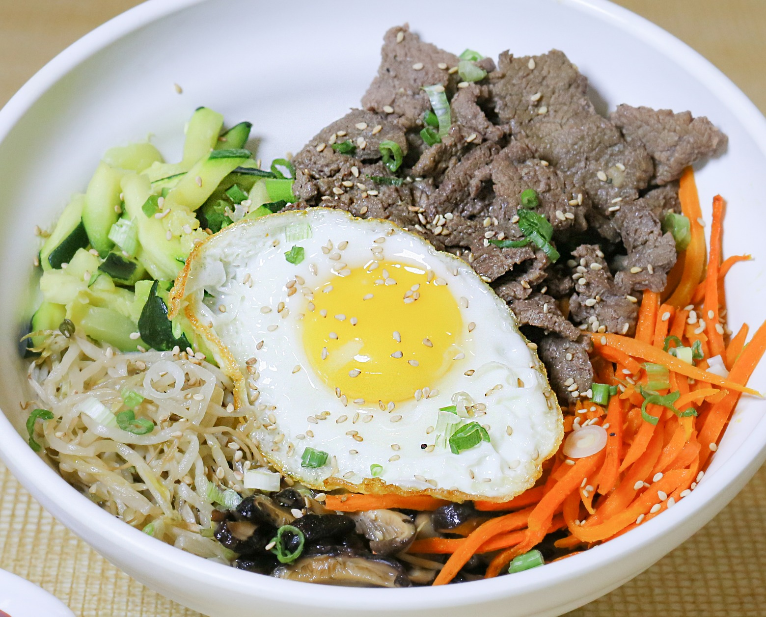 Bibimbap - Beef with Sunny-Side-Up Egg (Korean Entree)