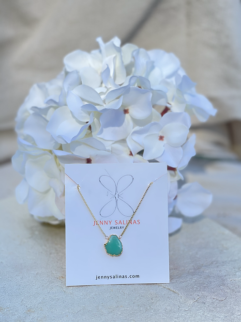 Green Chrysophace & Gold Filled Necklace