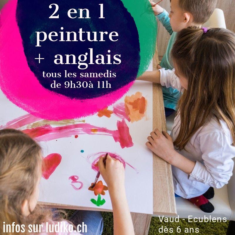 Flyer cours peinture enfant en angl