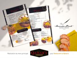 Menu principal Restaurant Qaisar's version 2020