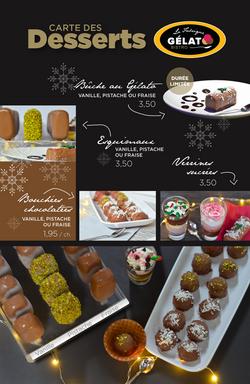 Carte des desserts Gelato Bistro