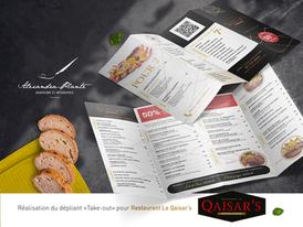 Dépliant «Take-out» Restaurant le Qaisar's