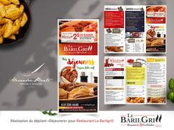 Dépliant menu déjeuner Restaurant Barilgrill