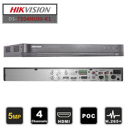 DVR Hivision 4 canaux 5 MP 1U H.265 (DS-7204HUHI-K1)