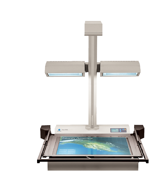 Escáner para Libros empastados históricos y de gran valorar histórico, en formato A2+ (43,2 x 63,5 cm). Se dispone de otros equipos en formatos A1, A0 para planos y documentos históricos.