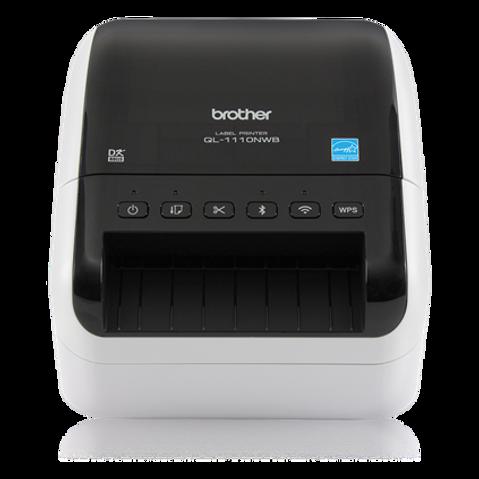 Impresora de código de Barras & etiquetas autoadhesivas Brother QL1110 NWB USB Red Wireless Bluetooth de 10 cm de ancho - Ideal para pequeños negocios de alimentación, repuestos automotrices, educación, abastos, farmacia y muchas otras aplicaciones.