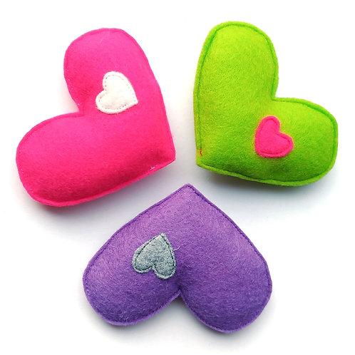 Double Heart Cat Toy w Catnip, Honeysuckle or Valerian Root